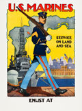 "Movie Posters:War, U.S. Marine Corps (1917). WWI Recruitment Poster (30"" X 40"")""Service on Land and Sea."". ..."