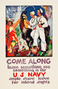 "Movie Posters:Miscellaneous, U.S. Navy (1919). Recruitment Poster (28"" X 42.5"") ""Come Along andLearn Something, See Something."". ..."