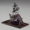Fine Art - Sculpture, American, EARL KRETZIN (American, 20th century. Hannibal, 2000.Silver, amethyst and wood. 6 inches high (15.2 cm). ...