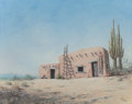 "Works on Paper, HAROLD EDGAR ""H. E."" WENCK (American, Early 20th Century). Siesta Time, Southern Arizona. Pastel on paper. 15-3/8 x 19-3..."