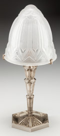 Miscellaneous:Lamps & Lighting, FRENCH ART DECO SILVERED METAL AND GLASS TABLE LAMP, circa 1925. 22inches high (55.9 cm). PROPERTY FROM THE RICHARD AND M...