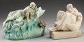 Ceramics & Porcelain, Continental:Modern  (1900 1949)  , TWO CONTINENTAL ART NOUVEAU POTTERY FIGURAL GROUPS, circa 1900. Marks to mermaid vase: D, 70, 99, BB, (impressed half ov... (Total: 2 Items)