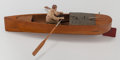 Decorative Arts, French, A FRENCH TOY ROW BOAT, circa 1900. 8-1/2 x 5 x 22 inches (21.6 x12.7 x 55.9 cm). ...