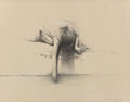 Works on Paper, WOODY GWYN (American, b. 1944). Artist's Daughter. Pencil with white highlights on paper. 10-1/2 x 13-1/2 inches (26.7 x...