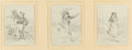 Fine Art - Work on Paper:Drawing, RANDOLPH CALDECOTT (British, 1846-1886). Untitled(triptych). Pencil on paper, each. 6-1/2 x 4-7/8 inches (16.5 x12.4 c...
