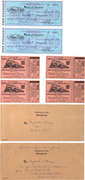 Animation Art:Limited Edition Cel, Disneyland Train Ticket and Money Order Group (1955-57).... (Total: 8 Items)
