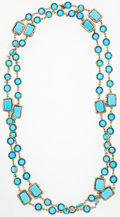 "Art Glass:Daum, Chanel Teal & Gold Crystal Sautoir Necklace. ExcellentCondition. 60"" Length x 0.5"" Width. ..."