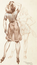 Animation Art:Production Drawing, Pin-Up Drawing by Sid Thorne (Walt Disney, 1940s)....