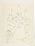 Animation Art:Production Drawing, Beauty and the Beast Belle, Mrs. Potts, Cogsworth andLumiere Illustration Preliminary Drawing (Walt Disney, 1991)....