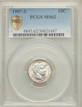 Barber Dimes: , 1907-S 10C MS62 PCGS Secure. PCGS Population (20/66). NGC Census:(16/32). Mintage: 3,178,470. Numismedia Wsl. Price for pr...