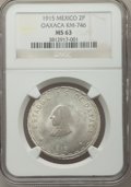 Mexico, Mexico: Oaxaca. Revolutionary 2 Pesos 1915 MS63 NGC,...