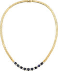 Estate Jewelry:Necklaces, Sapphire, Diamond, Gold Necklace. ...