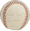 Autographs:Baseballs, Baseball Old Timers Multi-Signed Baseball. A total of fourteenformer stars of mid-century major league baseball are repres...