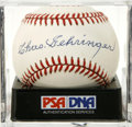 Autographs:Baseballs, Chas Gehringer Single Signed Baseball, PSA NM-MT 8. The MechanicalMan's near-perfect signature appears on the sweet spot of...