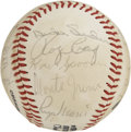 Autographs:Baseballs, 1980s New York Yankees Old Timers Day Multi-Signed Baseball. Twenty-three former heroes of Gotham's baseball stadia appear ...