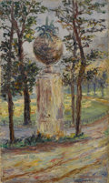 Fine Art - Painting, European:Modern  (1900 1949)  , ROGER CUREL SYLVESTRE (French 1884-1967). Garden Sculpture,1911. Oil on canvas. 10-1/4 x 17 inches (26.0 x 43.2 cm). Si...