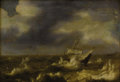 Fine Art - Painting, European:Antique  (Pre 1900), BRITISH SCHOOL (Eighteenth/Nineteenth Century). Ship in StormySea. Oil on panel. 11 x 16 inches. Initialed lower center...