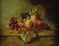 Fine Art - Painting, European:Antique  (Pre 1900), AGNES AUGUSTA BARTLETT (American 1847-1932). Still Life with Peaches and Grapes, 1901. Oil on canvas. 12 x 16 inches (30...