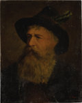 Paintings, GERMAN SCHOOL (Nineteenth Century). Portrait of a Man with Beard and Hat. Oil on wood board. 10-1/4 x 8-1/4 inches (26.0...