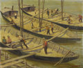Fine Art - Painting, European:Modern  (1900 1949)  , KAROL GAJEWSKI (Polish 1896-1969). Workmen on the Boats. Oilon canvas. 19 x 23-1/8 inches (48.3 x 58.7 cm). Signed lowe...
