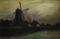 Fine Art - Painting, European:Modern  (1900 1949)  , CONTINENTAL SCHOOL. Windmills in a Landscape, circa 1900.Oil on canvas. 12 x 18 inches (30.5 x 45.7 cm). Signed lower l...