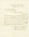 "Autographs:Statesmen, Andrew Johnson Letter Signed. One page, 7.8"" x 9.75"", WashingtonD.C., March 3, 1865, to Secretary of War Edwin M. Stanton. ..."