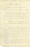 "Autographs:U.S. Presidents, President Andrew Johnson Document Signed, two pages, 10.5"" x16.75"", Washington, D.C., august 26, 1865, countersigned by Wil..."