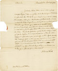 "Autographs:Statesmen, Artemas Ward Autograph Letter Signed ""Artemas Ward,"" onepage, 8"" x 9.75"". Philadelphia, April 30, 1794. Addressed by Wa...(Total: 1 Item)"