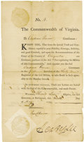 """Autographs:Statesmen, Henry Lee Partly Printed Document Signed """"Henry Lee"""" asGovernor of Virginia, one page, 7.25"""" x 12.5"""". Richmond, May 9, ...(Total: 1 Item)"""