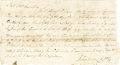 "Autographs:Statesmen, John Sevier Manuscript Document Signed ""John Sevier C.W.C.""as Clerk, Washington County, one page, 8.25"" x 4.5"". Washing..."