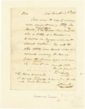 "Autographs:Military Figures, Thomas Hartley Autograph Letter Signed ""Thos Hartley,"" onepage, 6"" x 7.5"". York Town, December 2, 1785. Integral leaf a...(Total: 1 Item)"