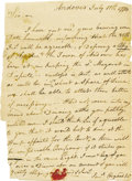 "Autographs:Statesmen, Samuel Osgood Autograph Letter Signed ""Saml Osgood,"" onepage, 5"" x 7"". Andover, July 11, 1774. In part, ""I have just..."