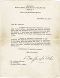 """Autographs:Military Figures, Douglas MacArthur Typed Letter Signed """"Douglas MacArthur,"""" one page, 6.5"""" x 8.5"""". Manila, September 18, 1941. To Andrew ... (Total: 1 Item)"""