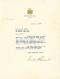"Autographs:U.S. Presidents, Franklin Roosevelt Typed Letter Signed, one page on New YorkGovernor's letterhead, 8"" x 10.5"", Albany, New York, April 4, 1...(Total: 1 Item)"