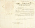 "Autographs:Statesmen, John Hancock Document Signed as Massachusetts Governor. One page, 16"" x 12.5"", partly printed, Commonwealth of Massachusetts..."