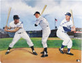 Autographs:Cut-outs, Mays, Mantle & Snider Signed Print. Depending on where he grewup in the New York City area, and who his parents were, a yo...