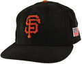 Baseball Collectibles:Uniforms, Circa 2001 Barry Bonds Game Worn Cap. The controversial mega-slugger topped off his San Francisco Giants uniform with this ...