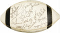 Football Collectibles:Balls, 1968 Baltimore Colts Team Signed Football. Though a cocky long-haired Jet named Joe Namath made underdog magic at this fier...