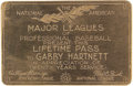 Baseball Collectibles:Others, 1941 Gabby Hartnett Gold Lifetime Major League Pass. Widelyconsidered to be the greatest catcher of the first half of the ...