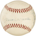 Autographs:Baseballs, Circa 1956 Mickey Mantle, Don Larsen & Yogi Berra Signed Baseball. Mickey Mantle's book My Favorite Summer was his pers...