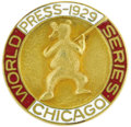 Baseball Collectibles:Others, 1929 World Series Press Pin (Chicago Cubs). The Cubs met anunstoppable force in the form of Connie Mack's outrageous roste...