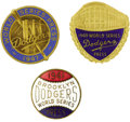 Baseball Collectibles:Others, 1941-49 World Series Press Pins (Brooklyn Dodgers) Lot of 3.Gorgeous Subway Series relics recall the beginnings of the Yan...