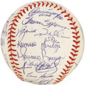 Autographs:Baseballs, 1998 New York Yankees Team Signed Baseball. Often named as thesecond greatest Yankees team after the Babe's 1927 edition, ...