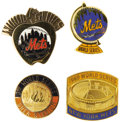 Baseball Collectibles:Others, 1969-2000 World Series Press Pins (New York Mets) Lot of 4.Convince your friends that you were at Shea each and every time...