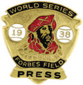 Baseball Collectibles:Others, 1938 World Series Phantom Press Pin (Pittsburgh Pirates). Sevengames in the lead on September first, the Bucs would fall v...
