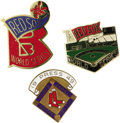 Baseball Collectibles:Others, 1949-87 World Series Phantom Press Pins (Boston Red Sox) Lot of 3.Heartbreaking close calls for the Sox, including one mad...
