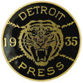 Baseball Collectibles:Others, 1935 World Series Press Pin (Detroit Tigers). Black and goldgraphics make this Motor City memento one of the most visually...