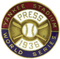 Baseball Collectibles:Others, 1936 World Series Press Pin (New York Yankees). The Fall Classicwas confined to a single square mile of ground this season...