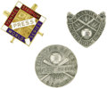 Baseball Collectibles:Others, 1941-43 World Series Press Pins (New York Yankees) Lot of 3. Note the difference between the 1941 example and those from 19...
