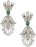 Estate Jewelry:Earrings, Diamond, Emerald, Palladium Earrings, Tiffany & Co.. ...